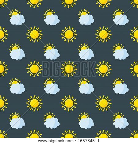 Seamless pattern weather vector illustration. Season thermometer design thunder temperature sign. Meteorology sky or sun nature element for web application.