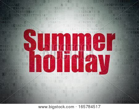 Vacation concept: Painted red word Summer Holiday on Digital Data Paper background