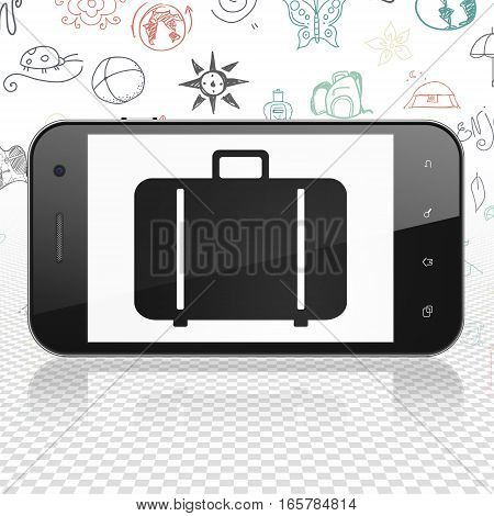 Travel concept: Smartphone with  black Bag icon on display,  Hand Drawn Vacation Icons background, 3D rendering