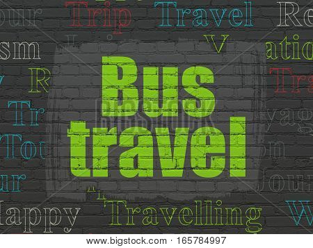 Vacation concept: Painted green text Bus Travel on Black Brick wall background with  Tag Cloud