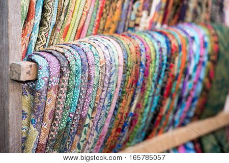 Various different colors silk fabric cloth detail