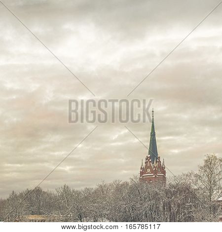 Church in winter, view from balcony, Palanga Lithuania