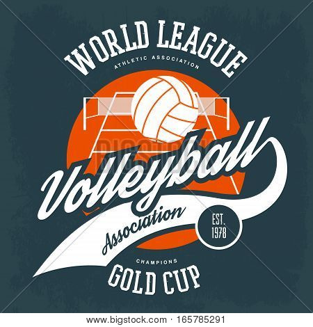 Volleyball field with behind ball logo. Sport gear or athlete clothing, t-shirt print and college association banner. Branding badge and advertising logotype, championship emblem, tournament sign poster