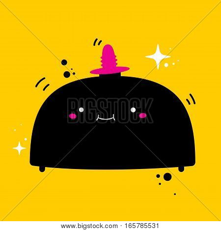 Handdrawn Illustration With Cute Vibrating Sex Machine On Yellow Background. Useful For Sex Shop Adv