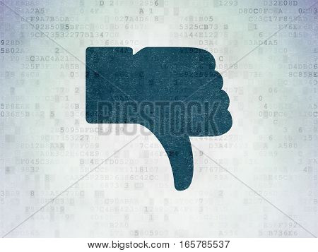 Social network concept: Painted blue Thumb Down icon on Digital Data Paper background