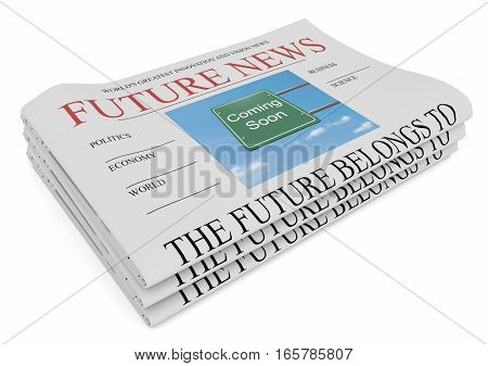 Future News Business Concept: Pile of Newspapers 3d illustration on white background