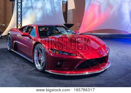 DETROIT MI/USA - JANUARY 8 2017: A Falcon F7 car at The Gallery an event sponsored by the North American International Auto Show (NAIAS) and the MGM Grand Detroit.