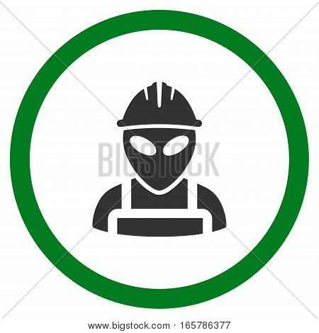 Alien Worker vector bicolor rounded icon. Image style is a flat icon symbol inside a circle, green and gray colors, white background.