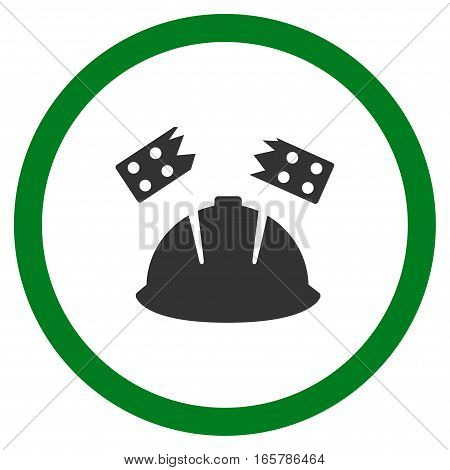 Brick Helmet Accident vector bicolor rounded icon. Image style is a flat icon symbol inside a circle, green and gray colors, white background.