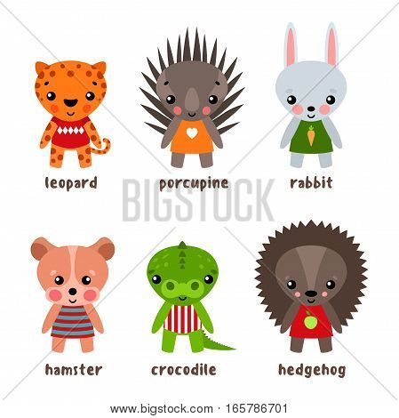 Hamster and crocodile cartoon characters. Set of smiling hedgehog and kid urchin, child of porcupine and funny alligator or croc, funny isolated baby leopard and rabbit with carrot. Zoo theme