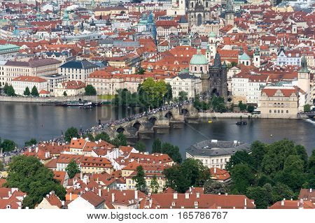 Aerial View Of Charles Bridge In Prague