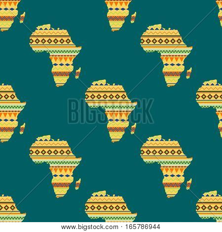 Diversity colors tribal ethnic bands African continent over white background. Textured vector map continent international travel geography illustration. World design cartography seamless pattern.