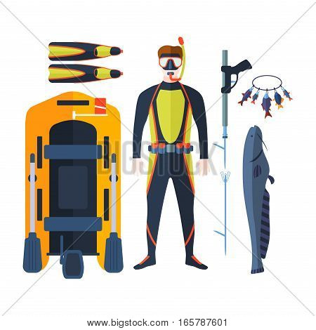 Set of flat elements for spear fishing in sea rivers and lakes. Underwater protective sea diver equipment. Vector professional hunter scuba harpoon.