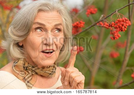 Portrait of a beautiful middle-aged woman in autumn park