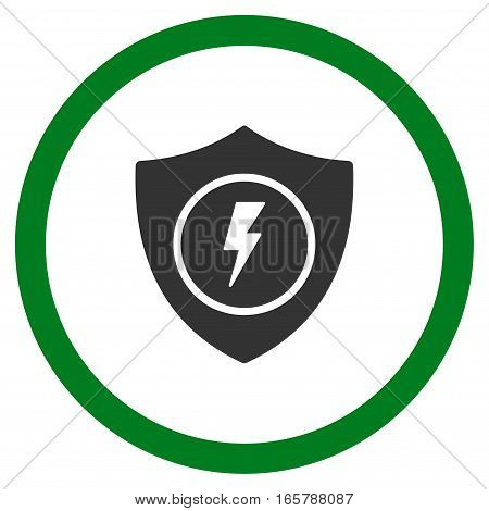 Electric Guard vector bicolor rounded icon. Image style is a flat icon symbol inside a circle, green and gray colors, white background.