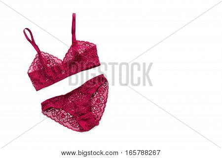 Shopping and fashion, female wardrobe concept. Set of glamorous stylish sexy lace lingerie on white background with space for text. Woman accessories.