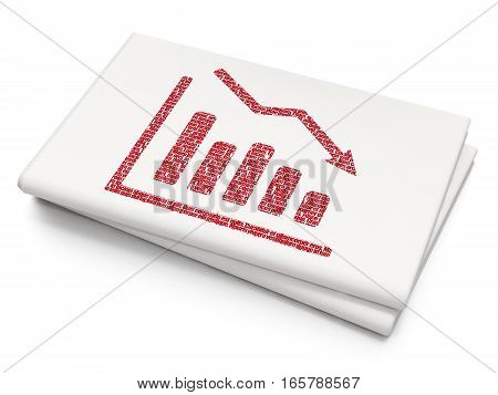 News concept: Pixelated red Decline Graph icon on Blank Newspaper background, 3D rendering