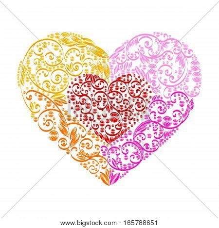 Stock vector illustration isolated heart decor yellow, orange, violet, pink, red quilling multicolored patterns white background greetings card, printed material, design element, Happy Valentines Day
