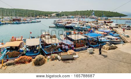 Foca, Izmir - May 16, 2015: Foca is one of the most attractive local and international touristic province of Izmir city,Turkey.It is also known as a fishing village and famous with fish restaurants.