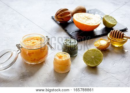 organic citrus scrub homemade on gray background close up