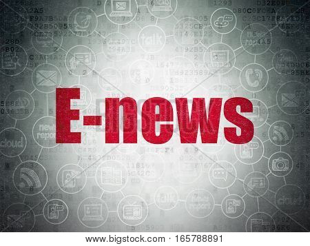 News concept: Painted red text E-news on Digital Data Paper background with  Scheme Of Hand Drawn News Icons