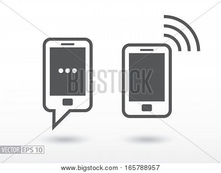 Mobile phone flat icon. Sign smartphone. Vector logo for web design, mobile and infographics. Vector illustration eps10. Isolated on white background.