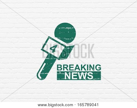 News concept: Painted green Breaking News And Microphone icon on White Brick wall background