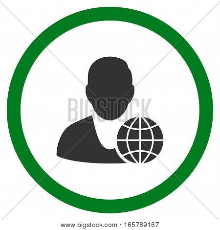 Global Manager vector bicolor rounded icon. Image style is a flat icon symbol inside a circle, green and gray colors, white background.
