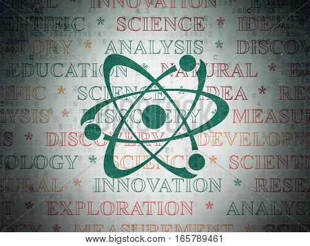Science concept: Painted green Molecule icon on Digital Data Paper background with  Tag Cloud