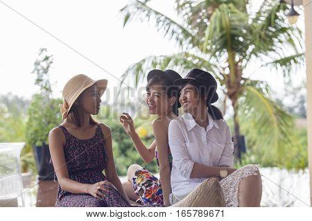 asian woman friend happiness emotion ralaxing talking