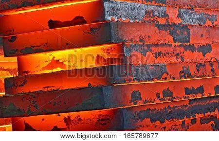 Hot slab inside of steel plant, close up