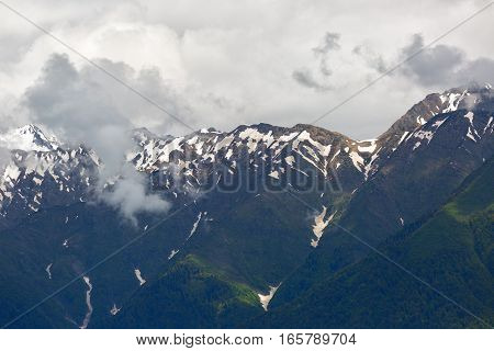 Mountain landscape- Big Caucasian Ridge with clouds