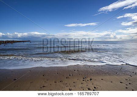 Walberswick beach Suffolk England on a sunny day