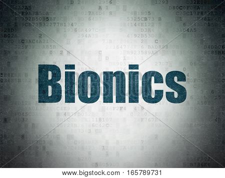 Science concept: Painted blue word Bionics on Digital Data Paper background