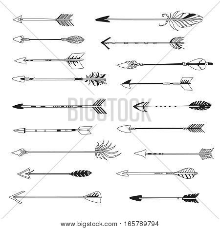Arrow of indian bow ethnic style set. hand drawn hipster design element illustration isolated on white background