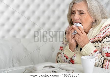 Portrait of senior woman has flu at home