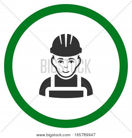 Happy Mechanic vector bicolor rounded icon. Image style is a flat icon symbol inside a circle, green and gray colors, white background.
