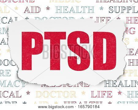 Healthcare concept: Painted red text PTSD on Torn Paper background with  Tag Cloud