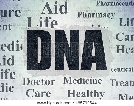 Medicine concept: Painted black text DNA on Digital Data Paper background with   Tag Cloud