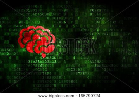 Medicine concept: pixelated Brain icon on digital background, empty copyspace for card, text, advertising