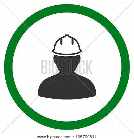 Person In Hardhat vector bicolor rounded icon. Image style is a flat icon symbol inside a circle, green and gray colors, white background.