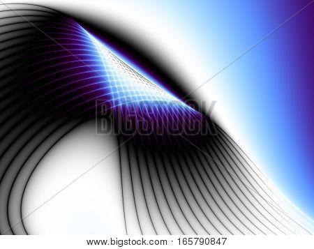 Digital art abstract pattern. Blue wavy fractal image