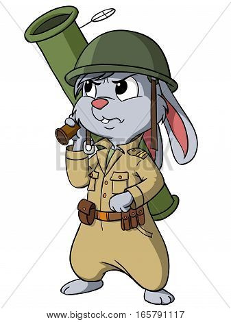 Cartoon bunny with bazooka on the white background