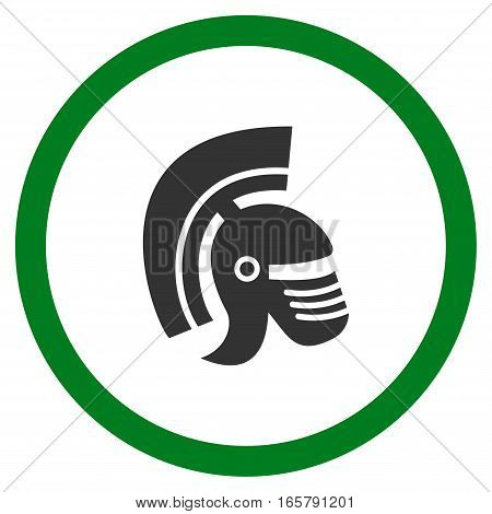 Rome Helmet vector bicolor rounded icon. Image style is a flat icon symbol inside a circle, green and gray colors, white background.