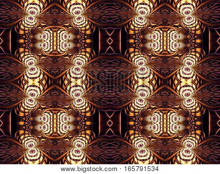 Digital art abstract pattern. Brown ornamental fractal image