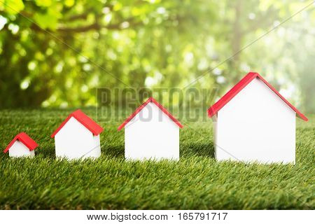Different Size Of Houses Arranged In Row On Grassy Field
