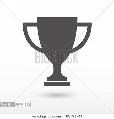 Champions cup flat icon. Sign trophy cup. Vector logo for web design, mobile and infographics. Vector illustration eps10. Isolated on white background.