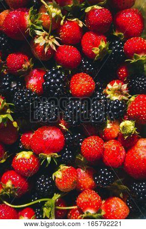 Fresh and organic seasonal berries background photo