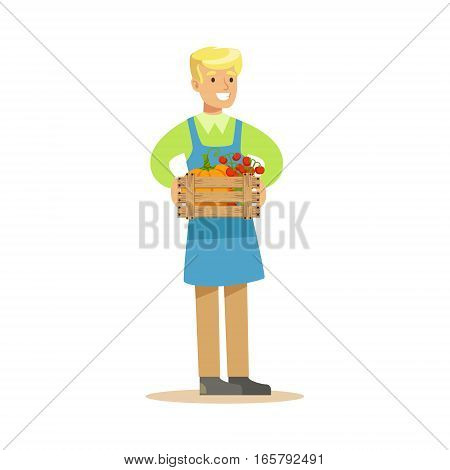 Man With Crate Of Fresh Vegetables, Farmer Working At The Farm And Selling On Natural Organic Product Market. Cartoon Happpy Character Growing Crops And Animals Professionally Vector Illustration.