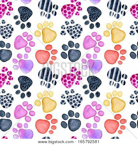 Watercolor Valentine's Day greeting card template seamless pattern poster wrapping paper. Animals footprints